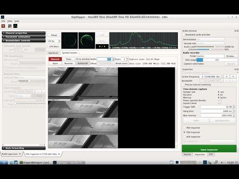 DragonOS LTS SigDigger demodulating a 5 GHz analog video/FPV drone link (HackRF One, SigDigger)