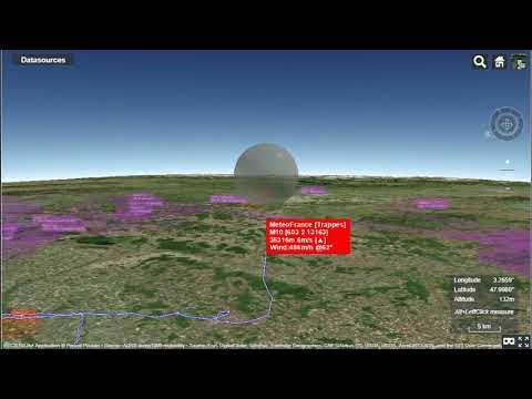 Illustration of 3D realtime tracking of weather sonde.