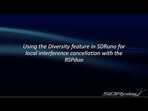 Using Diversity in SDRplay's SDRuno to Cancel Local Interference