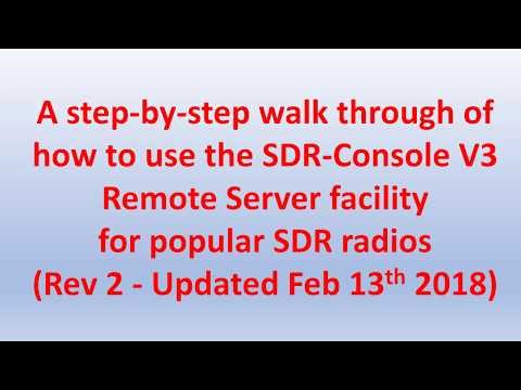 SDR-Console remote access for SDR Radios