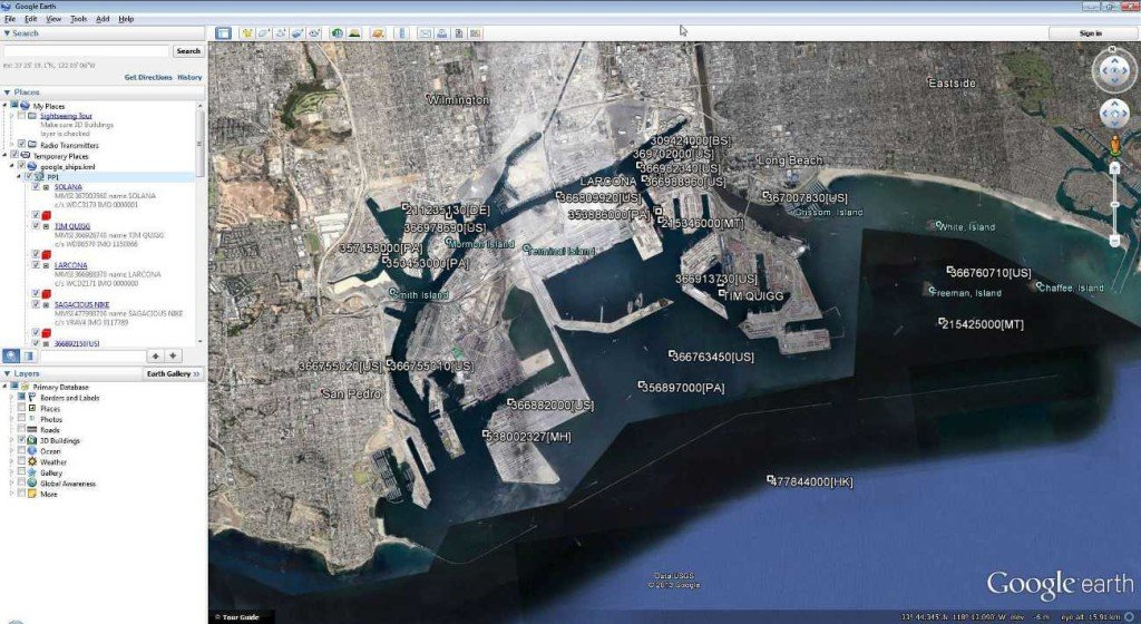 Google Earth AIS Screenshot