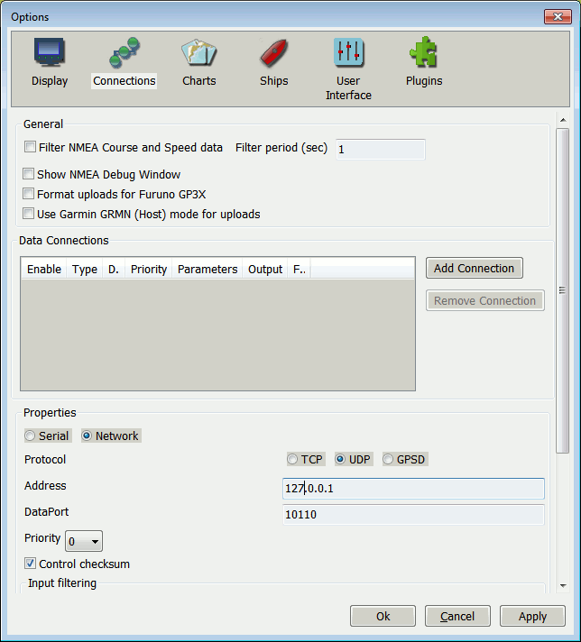 OpenCPN Add UDP Connection