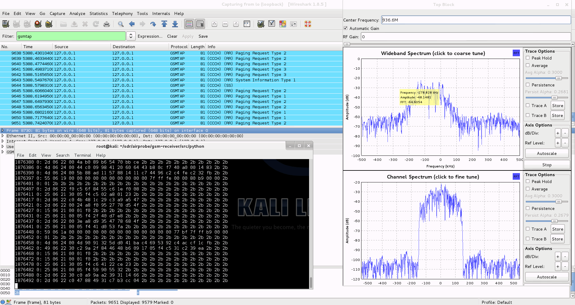 GSM Decoding with Airprobe and Wireshark and RTL-SDR Software Defined Radio