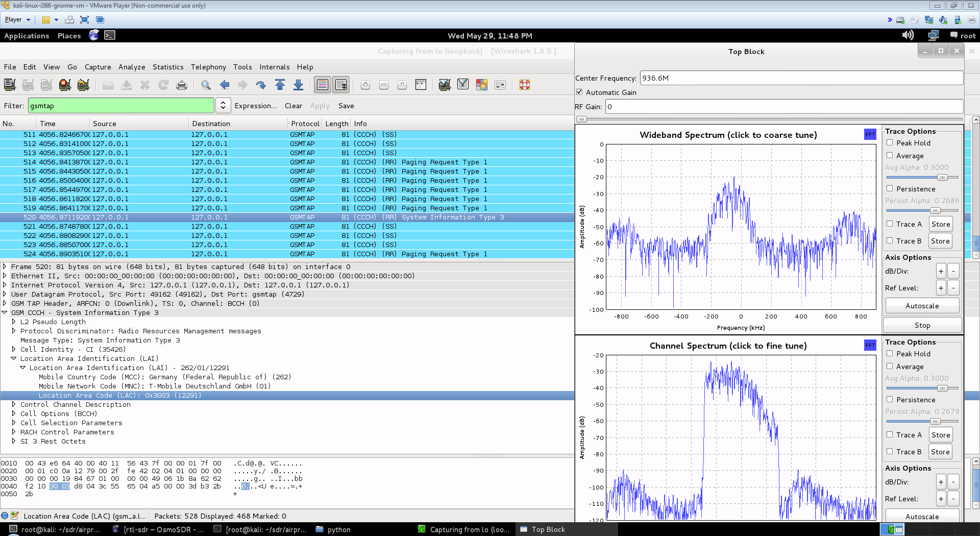 Kali Linux with Airprobe and Wireshark and RTL-SDR Software Defined Radio