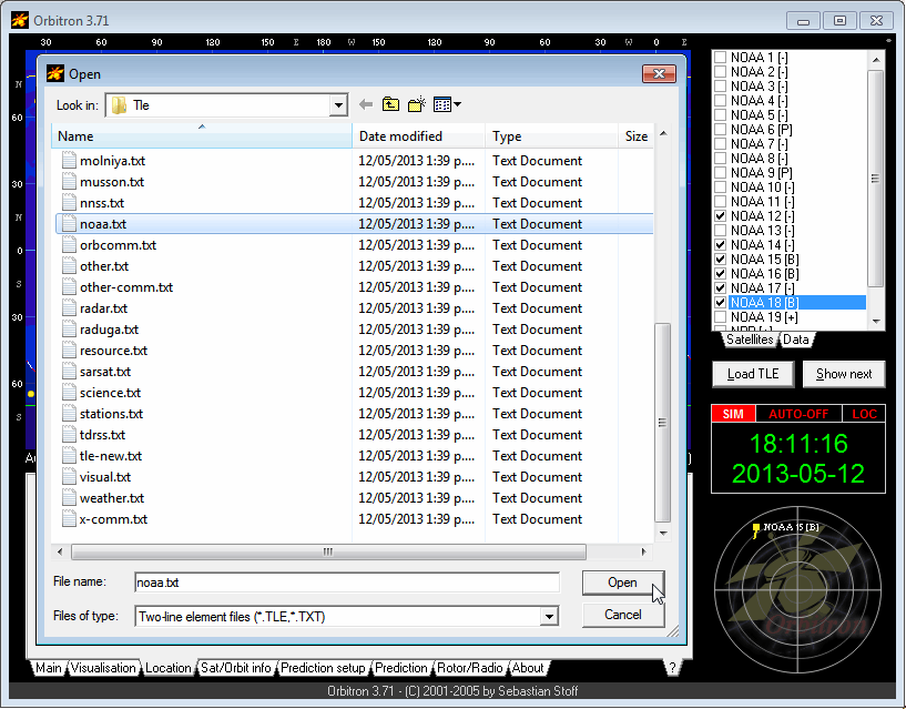 Orbitron Load NOAA TLE