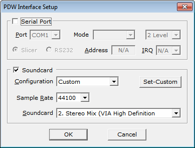 PDW Soundcard Interface Setup