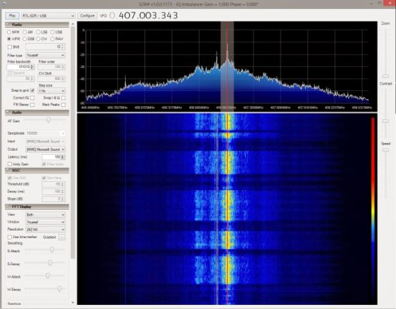 2.4GHz NRF24 packet received on the RTL-SDR from a Logitech mouse using a downconverter