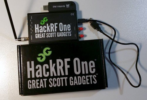 HackRF + Telescopic Antenna + USB Cable + Box (RTL-SDR Dongle Shown for Size Comparison)