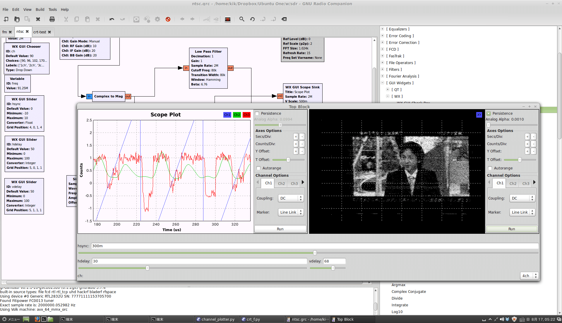 Receiving NTSC Analogue TV with GNU Radio and an RTL-SDR