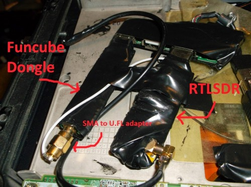 Laptop with built in RTL-SDR and FunCube Dongles