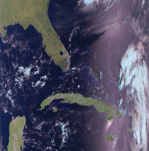 An Example LRPT Image Received with an RTL-SDR from the Meteor-2 M2.