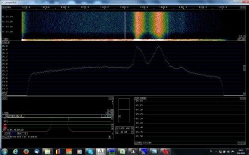 Linrad showing Galactic Arm Hydrogen Line Peaks