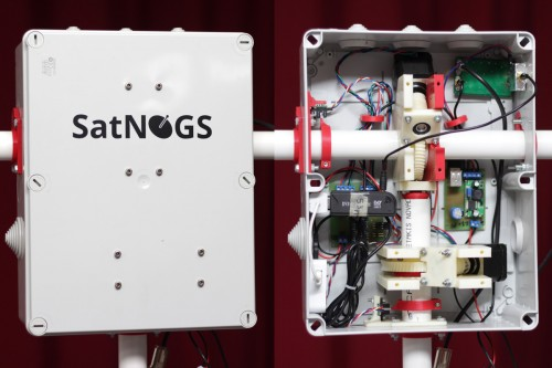 SatNOGS Hardware with RTL-SDR Dongle Visible