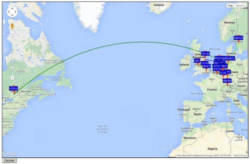 Some Received WSPR Locations