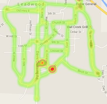 Heatmap showing sources of powerline interference