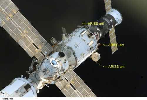 Antennas on the ISS used to transmit SSTV images