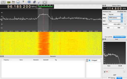 GQRX running on a Mac Computer