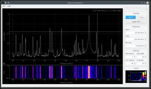 QSpectrumAnalyzer GUI for rtl_power