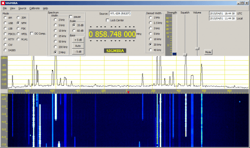 Screenshot of the Sigmira decoding software which now supports the RTL-SDR directly.