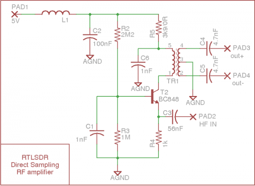 Direct sampling mod with amplifier circuit schematic by pskato.
