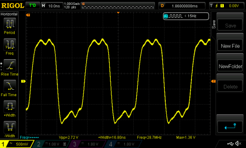 Square wave before filtering.