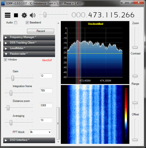 The Passive Radar plugin by Dr. Kaminski in SDR#.