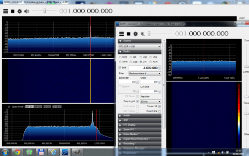 Using SDR# to tune the TX RTL-SDR, and using another instance of SDR# and RTL-SDR to receive the 1GHz signal.