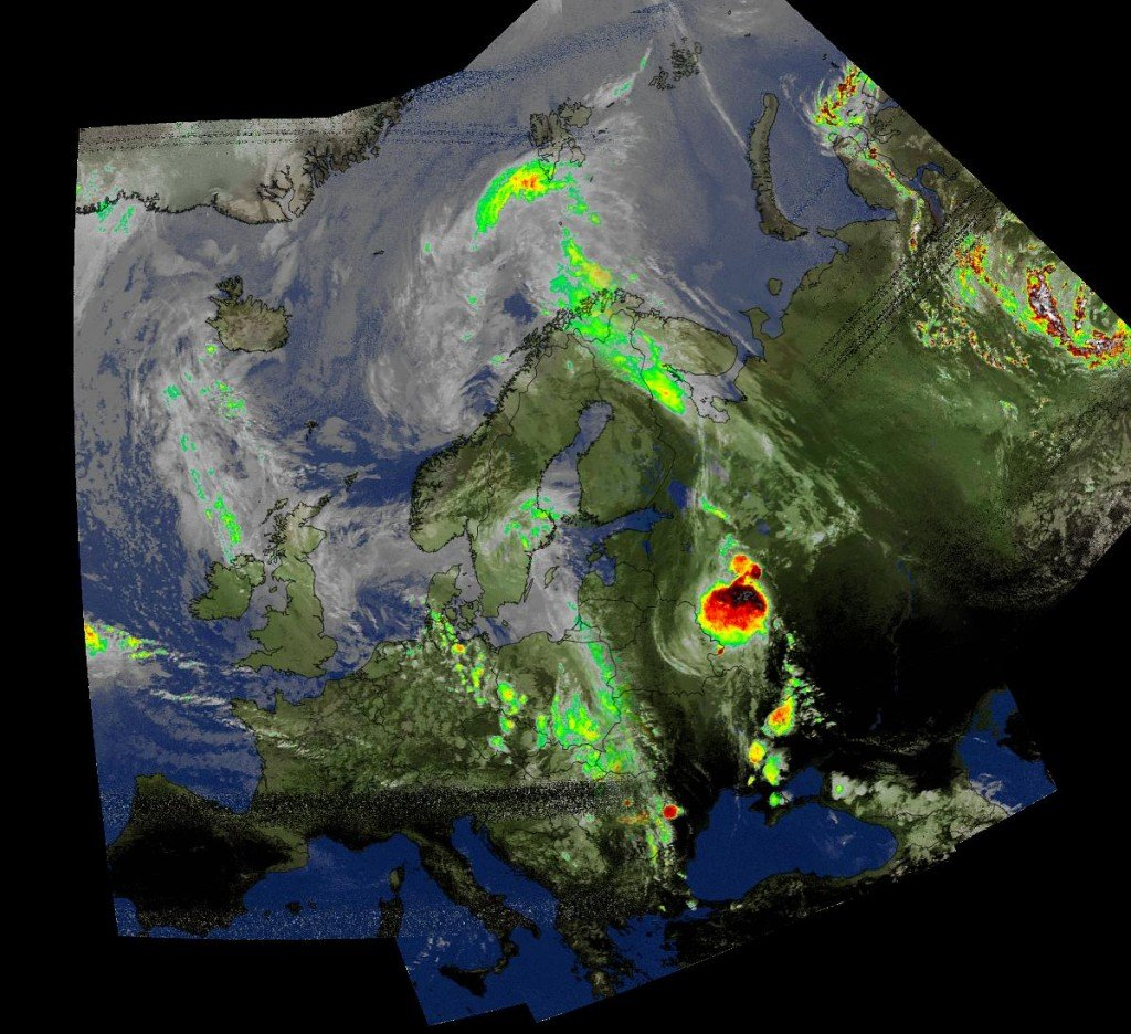 A composite weather satellite image received from the NOAA-18 satellite by Marco