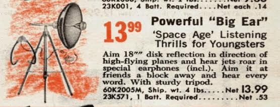 An old parabolic micrphone advertised in a radioshack catalogue from the '60's