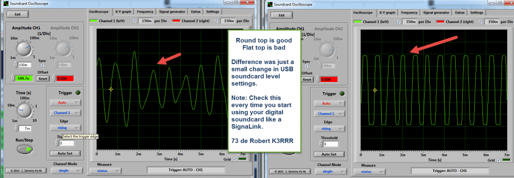 Checking for over driven audio waveforms in Soundcard Oscilloscope.