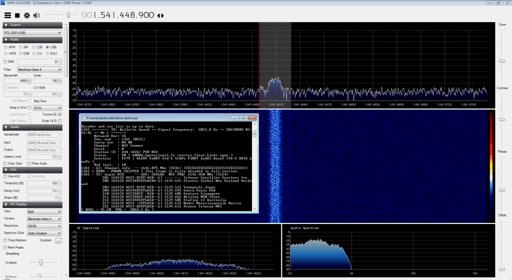 SDR# tuned to the Inmarsat STD-C NCS channel with Inmarsat decoder running