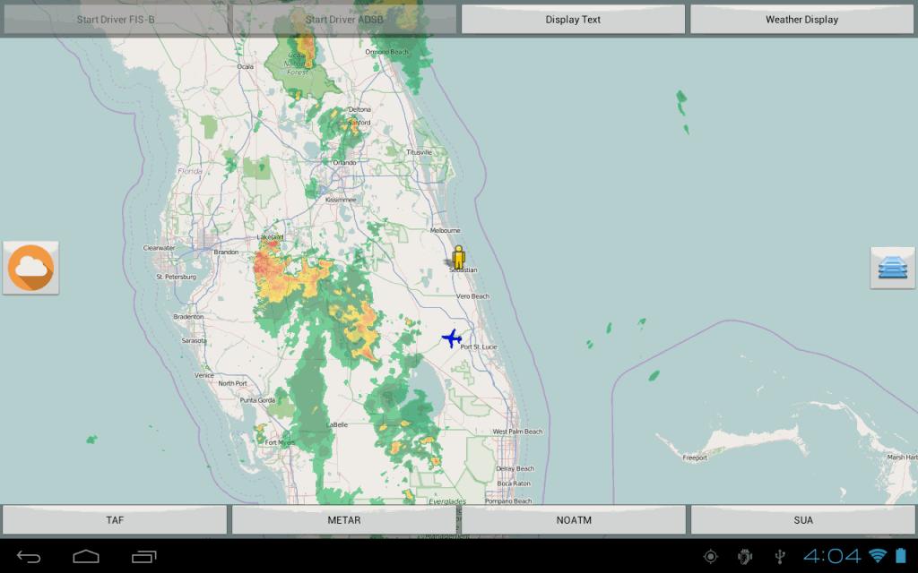 NEXRAD FIS-B precipitation data displayed on map.