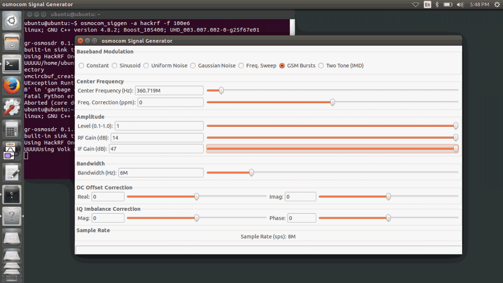 HackRF TX gain settings.