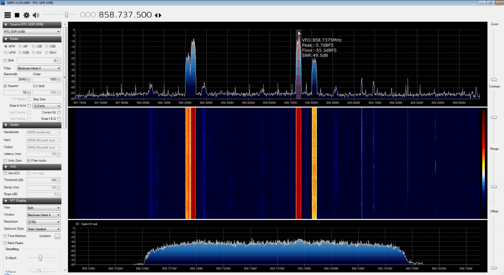 Revision 1400 of SDR# with SNR estimation.