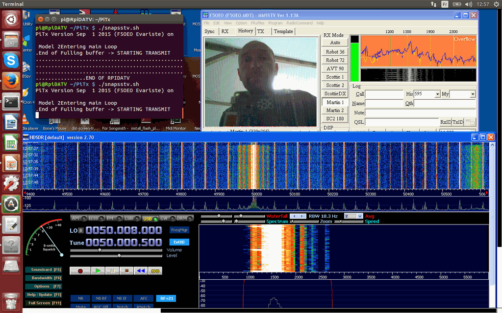 PiTX transmitting SSTV and received in HDSDR. From PiTX's author's Twitter @F5OEOEvariste
