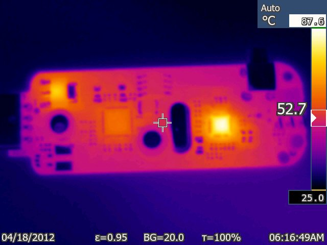 The RTL-SDR PCB seen with a thermal camera