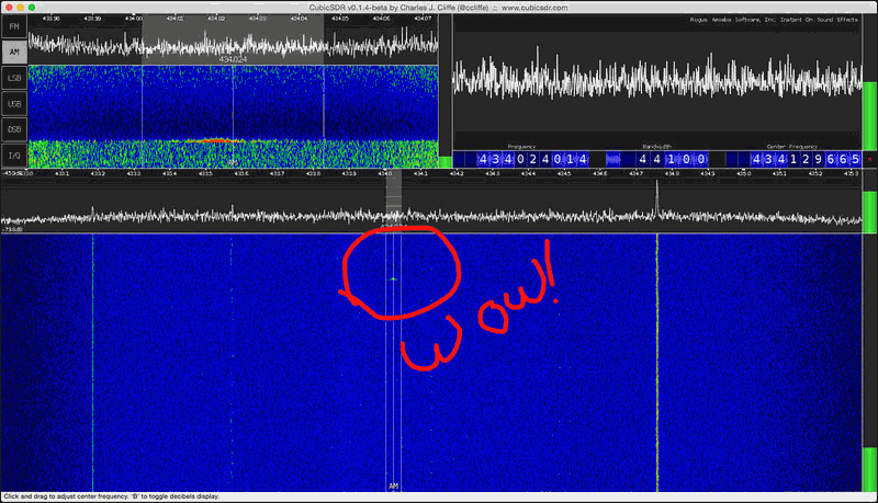 The 433 MHz thermostat on/off signal detected with an RTL-SDR in the CubicSDR software