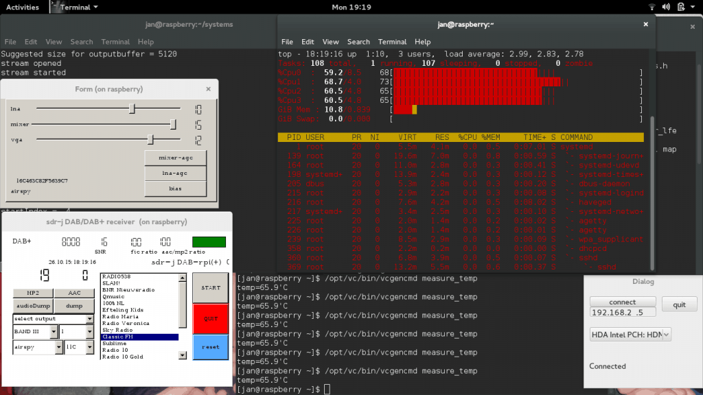 Screenshot of SDR-J running on the Raspberry Pi 2.