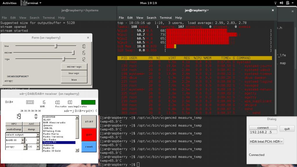 Screenshot of SDR-J running on the Raspberry Pi 2.
