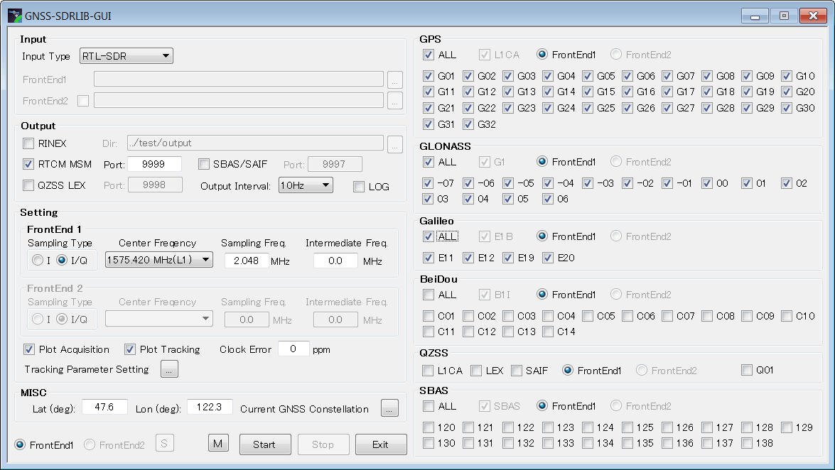 The GNSS-SDRLIB GUI setup screen.