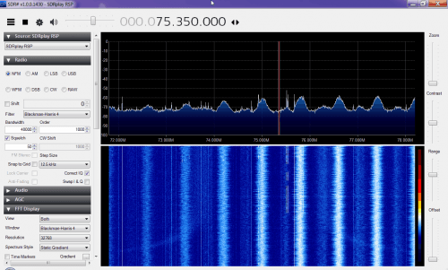 Broadcast band interference showing on the RSP when the gain was increased too far.