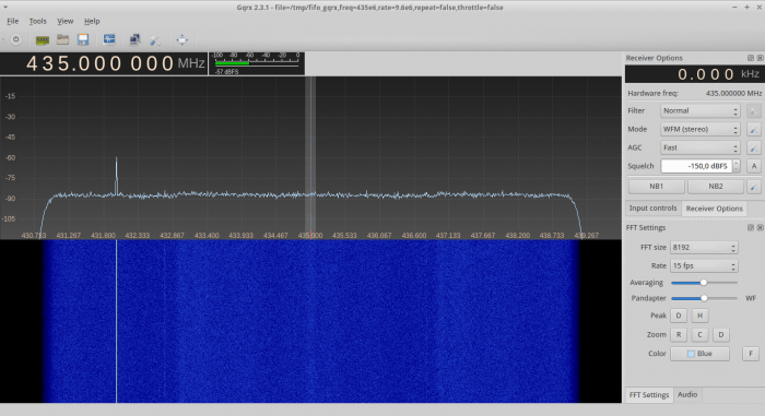 Four RTL-SDRs producing a total of 8.4 MHz of bandwidth in GQRX.