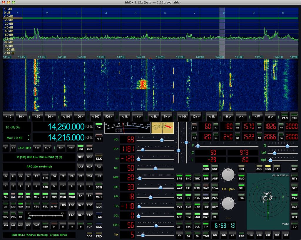 The SdrDX main screen.