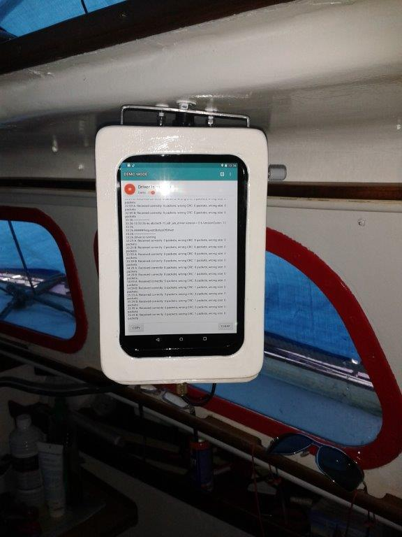 AIS Share Receiver on the sailboat in a waterproof case.