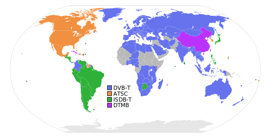 Digital broadcast standards used in each country.