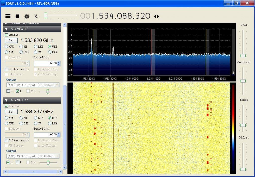 Monitoring two C-Band channels in SDR# with the AUX VFO plugin.