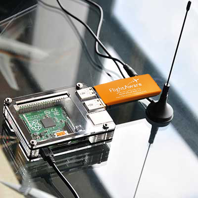 The new FlightAware dongle running on a PiAware Raspberry Pi system.