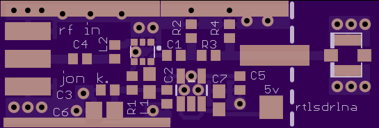 An example PCB for an LNA that can be found on OSH Park.