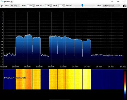 Airspy + Spectrum Spy receiving the entire digital TV band over 100 MHz.