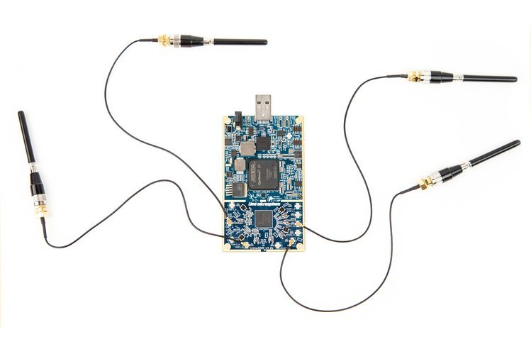 The LimeSDR with four antennas attached.